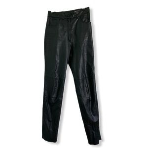 High Waisted vintage black leather pants